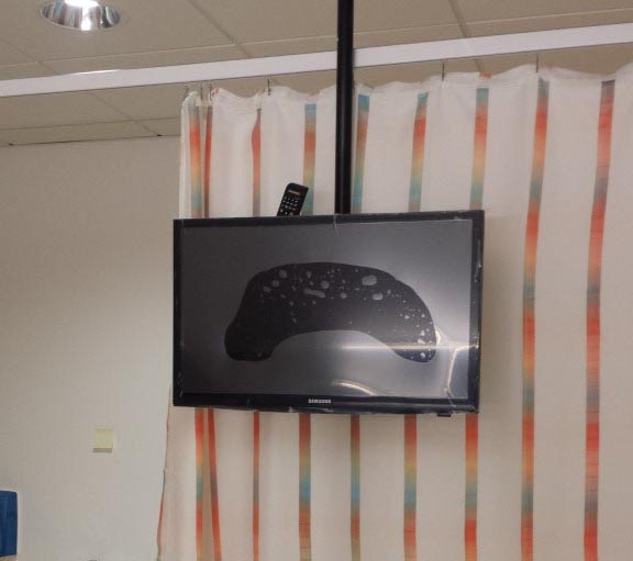 Ceiling Mounted TV in Hospital